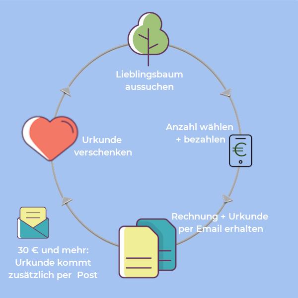 So funktioniert jetzt Aufforsten: Baum aussuchen/bezahlen/Rechnung und Urkunde per Email bekommen/veschenken und freuen